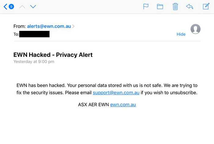 """Text message saying """"EWN has been hacked. Your personal data is not safe. Trying to fix the security issues""""."""