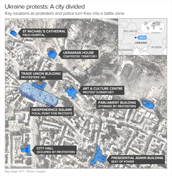 The key locations in the ongoing unrest gripping Ukraine's capital of Kiev.