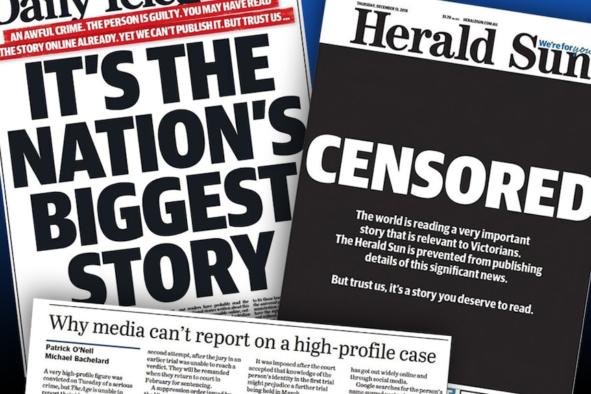 """Newspaper headlines including """"Censored"""", """"It's the nation's biggest story"""" and """"Why media can't report on a high-profile case""""."""