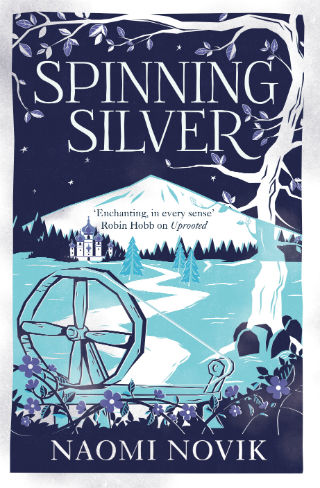 A blue and indigo book cover depicting a winter scene and a spinning wheel.