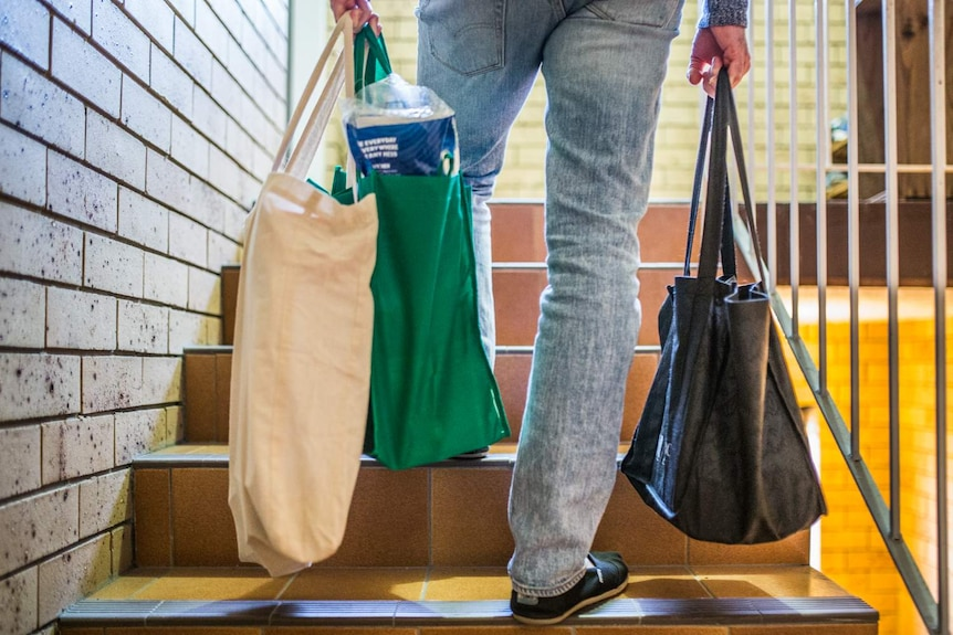 Man walking up stairs holding reusable shopping bags.