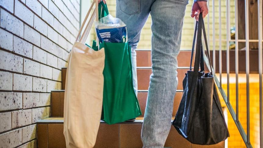 Man walking up stairs holding reusable shopping bags.