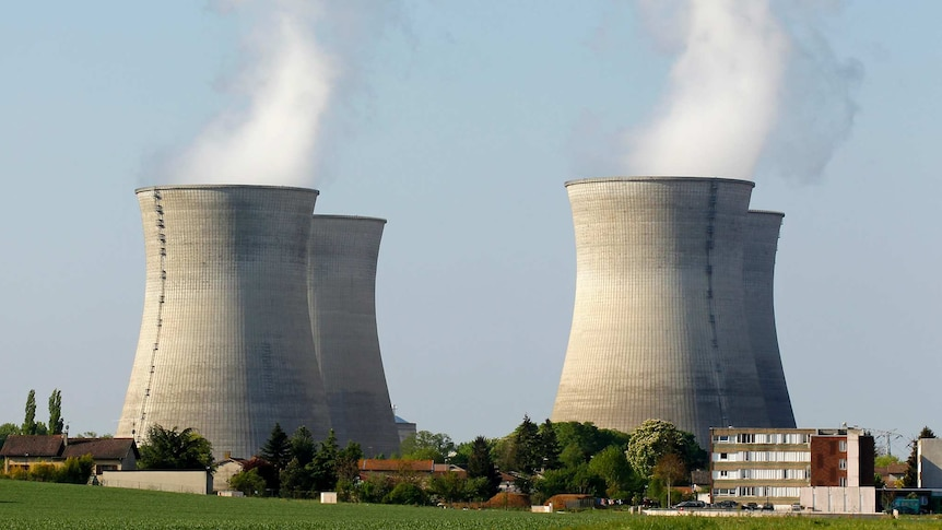 An older model of nuclear power plant in France
