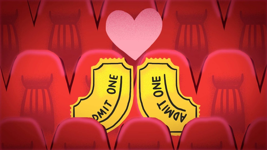 Illustration of two 'admit one' tickets sitting on cinema seats with a love heart to depict the best and worst date movies.