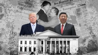 Graphic depicts Xi Jinping, Donald Trump and the White House.