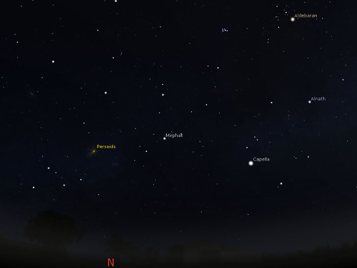 Position of Perseid meteor shower on August 12 above Darwin