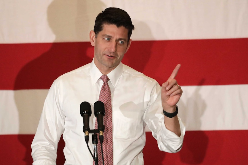 US House Speaker Paul Ryan at 2018 campaign rally.