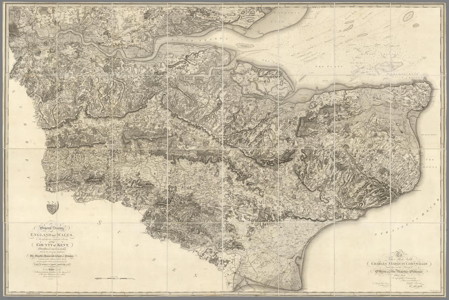 A sepia toned map of the county of Kent