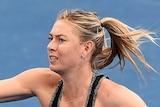 Maria Sharapova on the Brisbane practice court