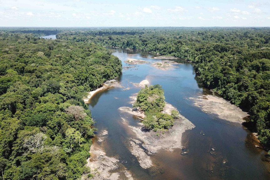 An aerial view of the highlands regions of the Amazon