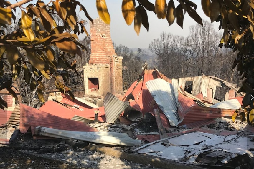A brick house completely destroyed.