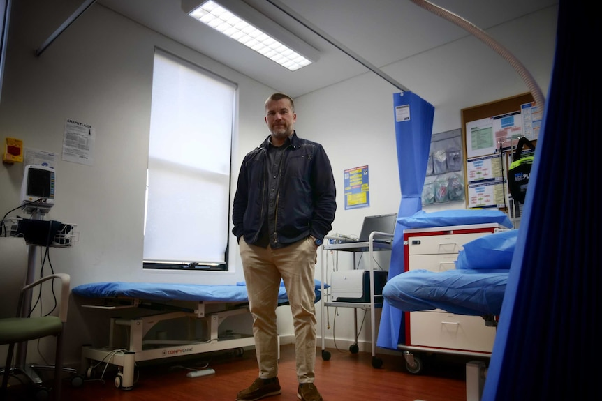 Dr Matty Moore at his practice in Dunsborough, WA in August 2020.