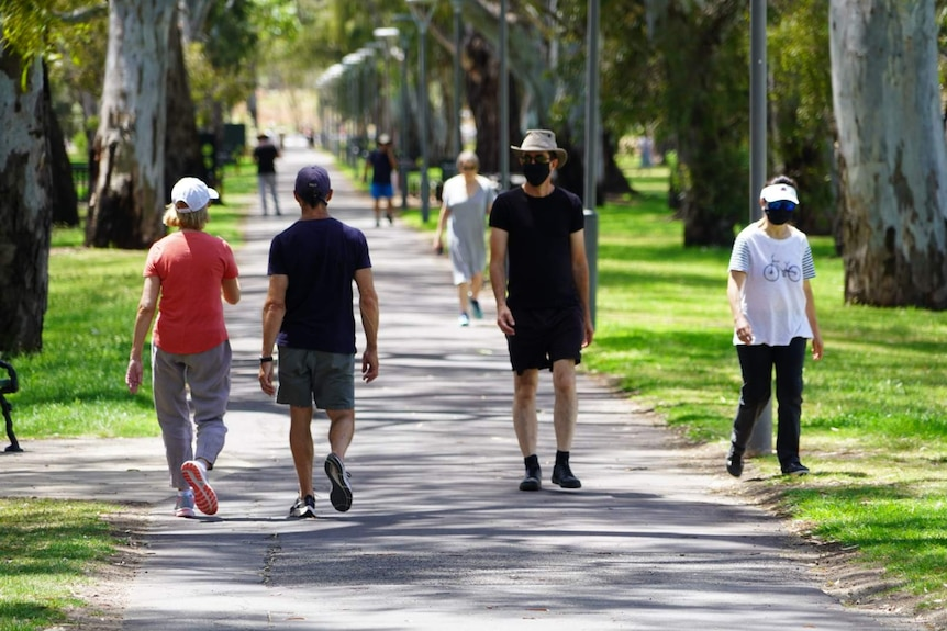 People wearing masks walking along a path in parklands.