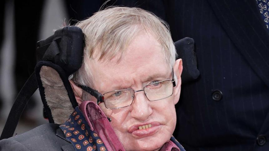 Professor Stephen Hawking arrives for the Interstellar Live show.