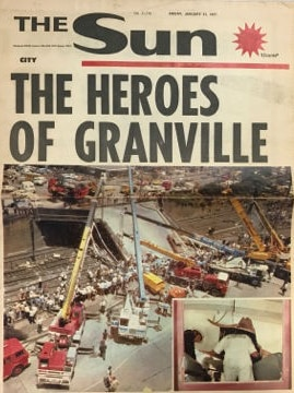 Front page of the Sun newspaper in 1977 with Heroes of Granville headline and picture of disaster