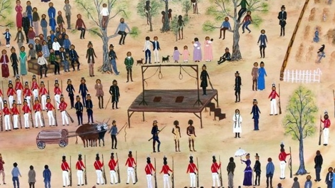 A painting of two aboriginal men being escorted to the gallows, surrounded by spectators.