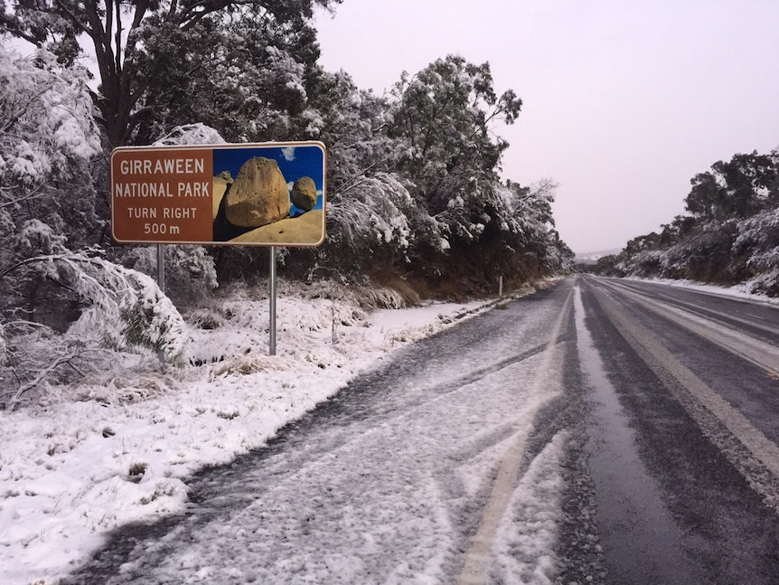 Snow falls near Girraween National Park on Queensland's Granite Belt