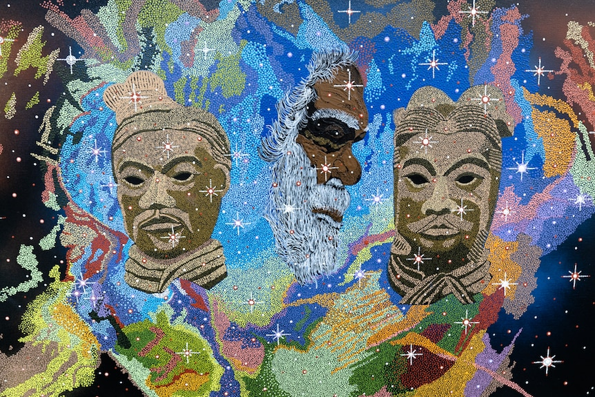 Lloyd Hornsby's painting Past Warriors shows dreaming stories, Chinese symbolism and intergalactic constellation.