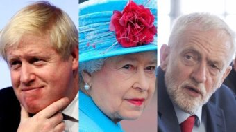 Boris Johnson, Queen Elizabeth II and Jeremy Corbyn.