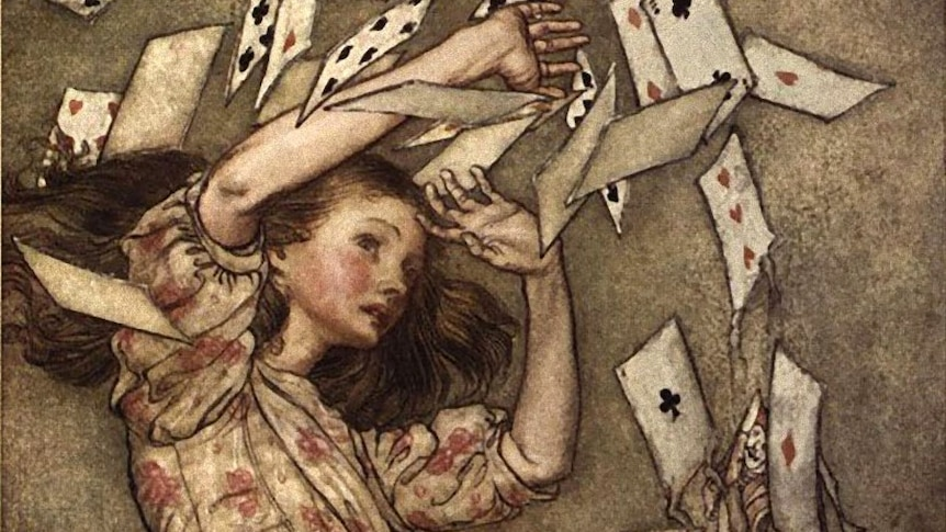 An illustration by Arthur Rackham of Alice in Wonderland, a girl holding up her arms at playing cards