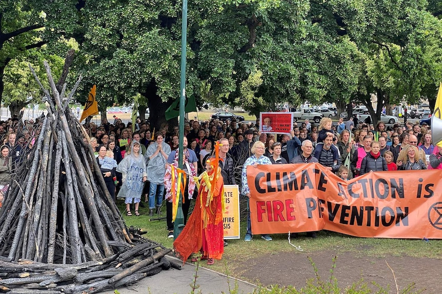 About 200 people gather at a climate rally in Hobart on Parliament House lawn.