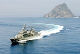 South Korea Navy boat near  Dokdo and Takeshima disputed Islands