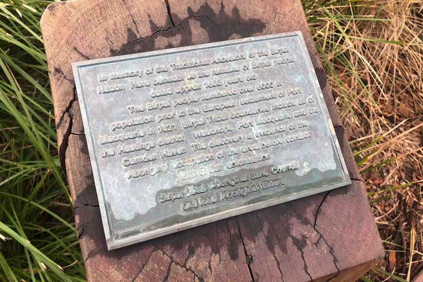 Close up of the plaque at the Aboriginal burial site