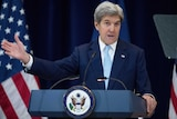 Secretary of State John Kerry speaks at the State Department in Washington