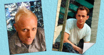 Keith Flint and Luke Perry as posters on a wall
