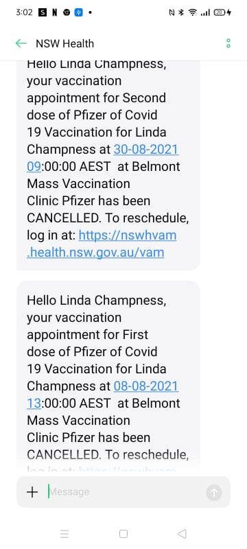 Two text messages from NSW health