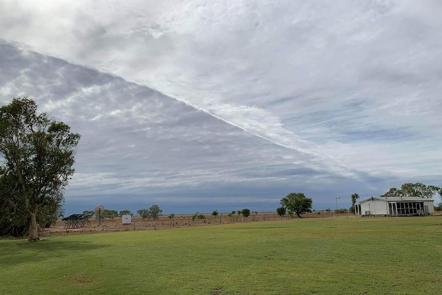A grey sky over a paddock.