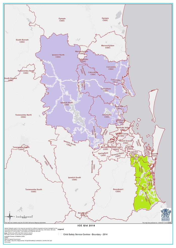 Almost 40 per cent of parental ice use was in households on the Gold Coast, Ipswich's north, and Brisbane's north, to Caloundra.