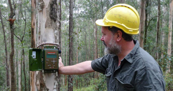 Scientist Brad Webb uses a recording device to capture seven consecutive nights of sound.