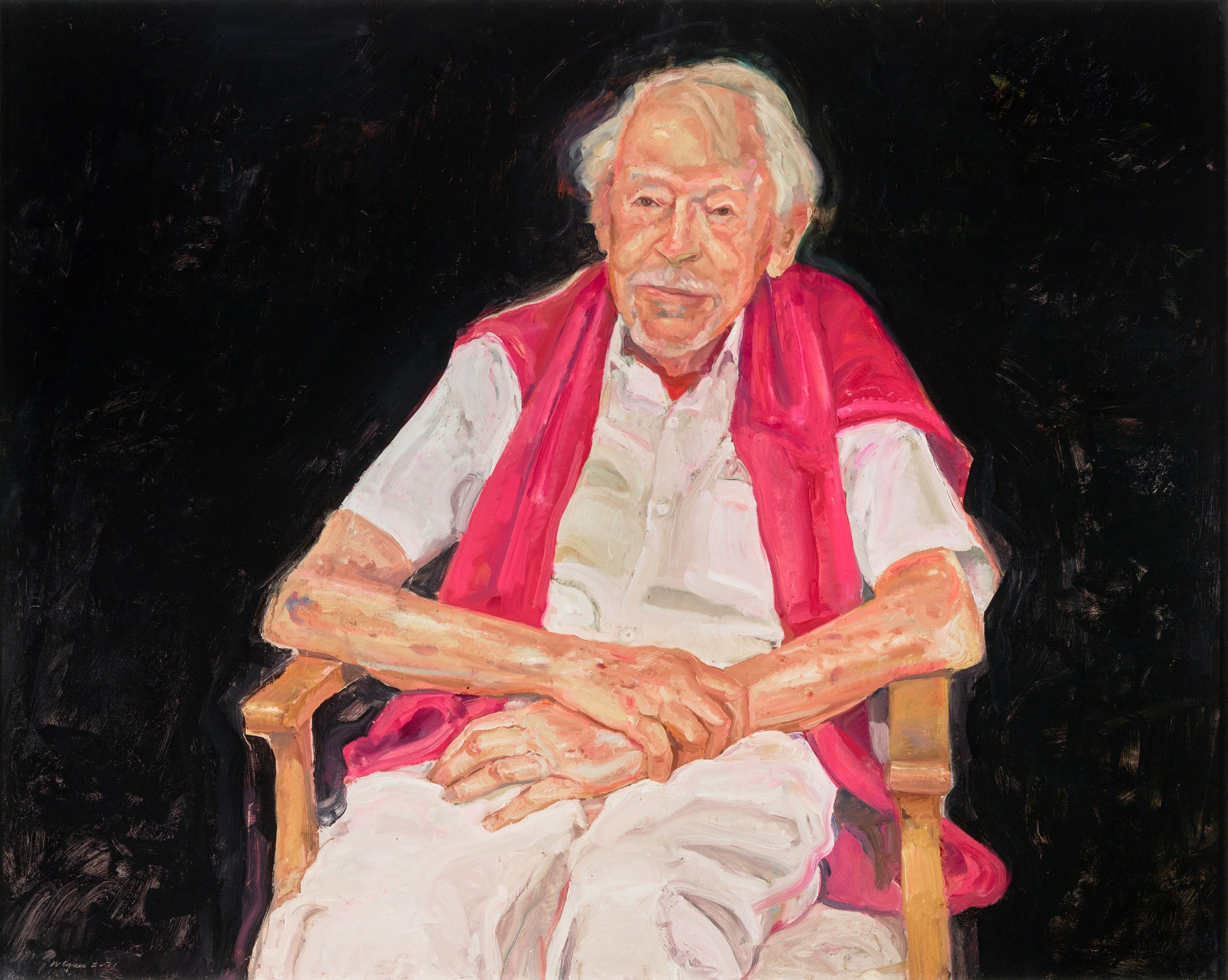 A painting of artist Guy Warren in a cane chair with his arms crossed in his lap, with a pink jumper over his shoulders