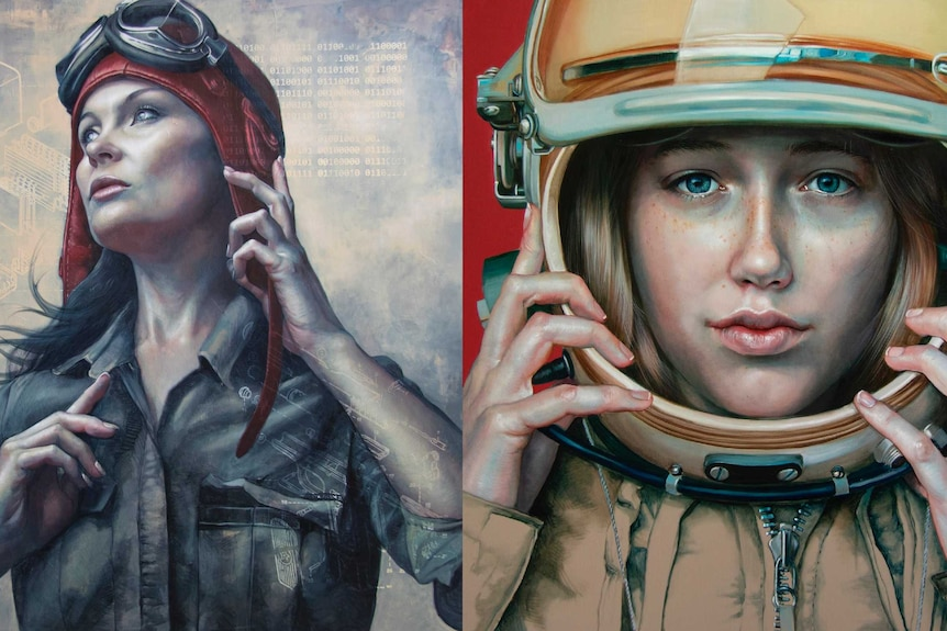 Two of Kathrin's paintings, one showing a woman dressed as an aviator, the other of a woman dressed as a cosmonaut