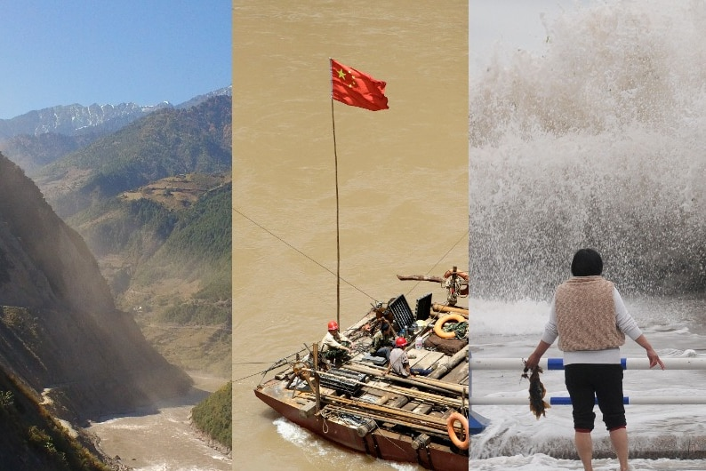 You view a triptych of a mountain landslide, a raft in brown waters with a Chinese flag, and a woman staring at a massive wave.