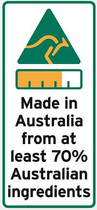 A label showing the words made in australia from at least 70% Australian ingredients, a bar chart and green and gold kangaroo