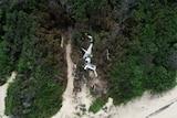 The wreckage of a plane crash