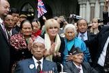 British actress Joanna Lumley joins ex-Gurkhas, including Victoria Cross winner Tul Bahadour Pun, front left, outside the High Court.