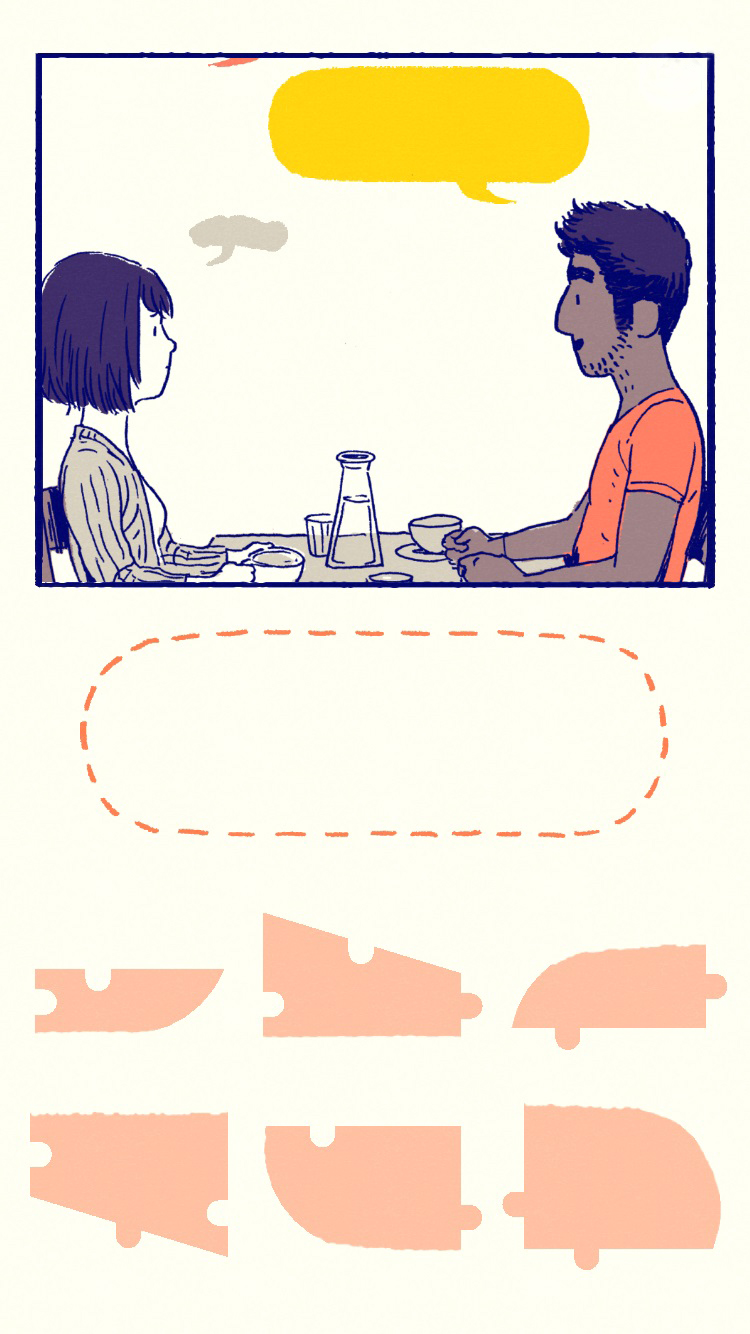 Colour screenshot of two characters chatting over a table and a puzzle. An in game scene from mobile game Florence.