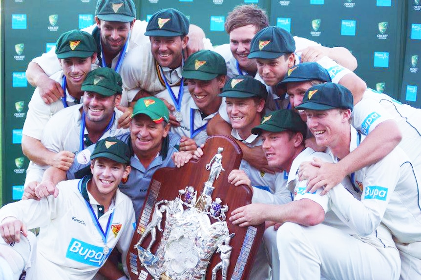 Sheffield Shield cricket champions 2012/13, Tasmania, who defeated Queensland at Bellerive Oval, 22 to 26 March, 2013.