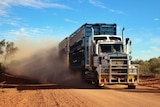 A road train powers through the desert, leaving a cloud of dust in its wake.
