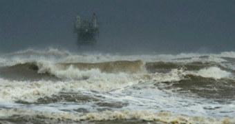 Larger than usual waves come ashore at Crystal Beach.