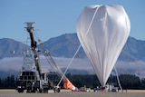NASA's super-pressure balloon stands fully inflated and ready for lift-off from Wanaka airport.