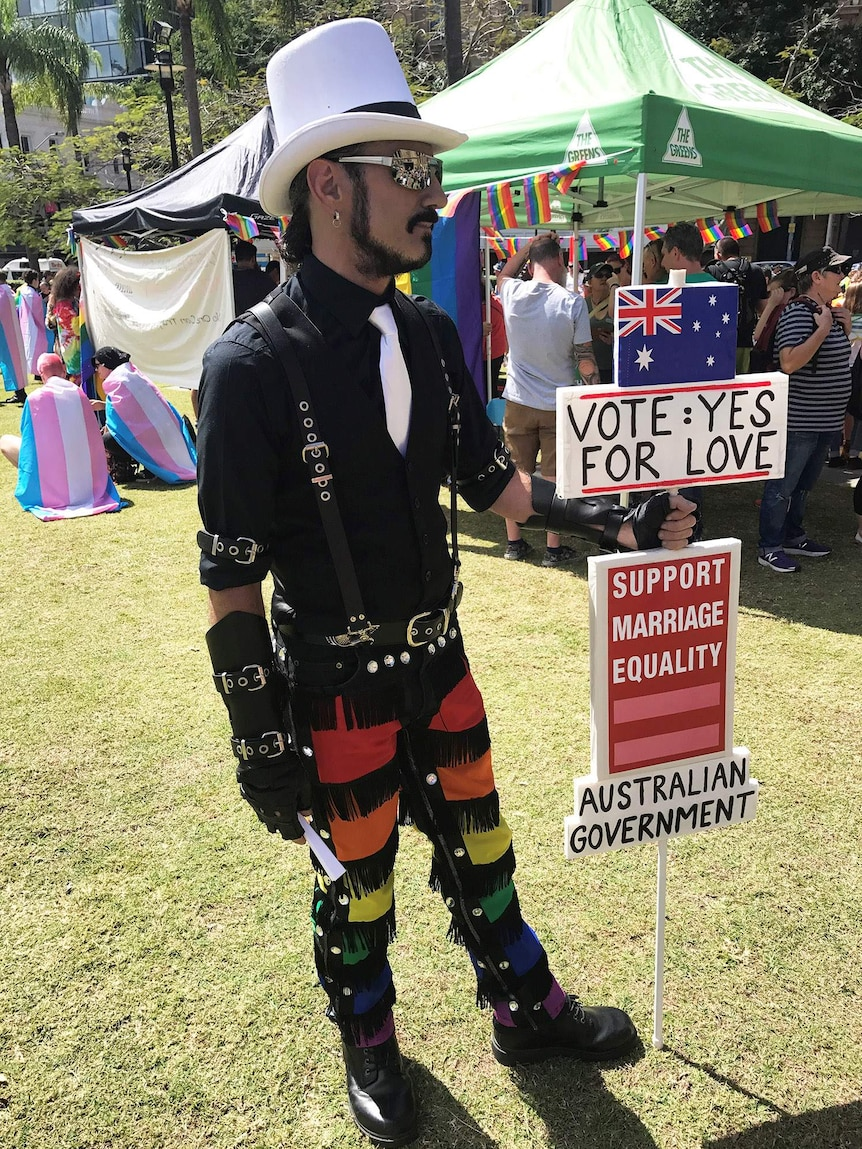 Steve Rushbrook at a same-sex marriage rally in Brisbane's CBD at Queens Gardens.