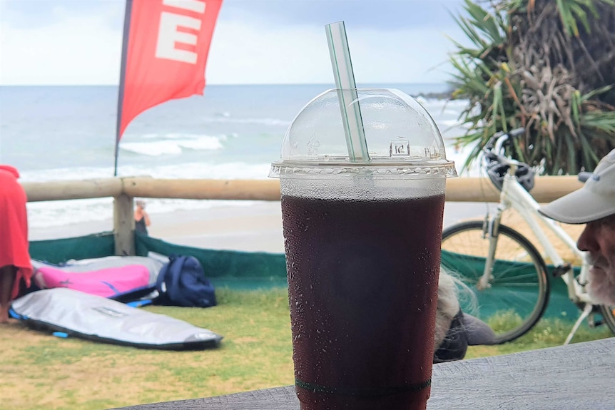 a biodegradable plastic cup and straw in the foreground and ocean in the background