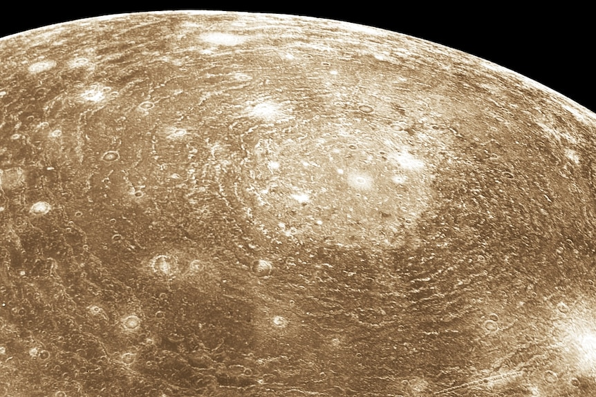 An image of Jupiter's moon Callisto, with raised rings spreading out from a crater