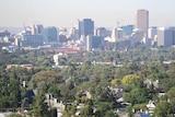 A haze lies over the Adelaide city skyline.