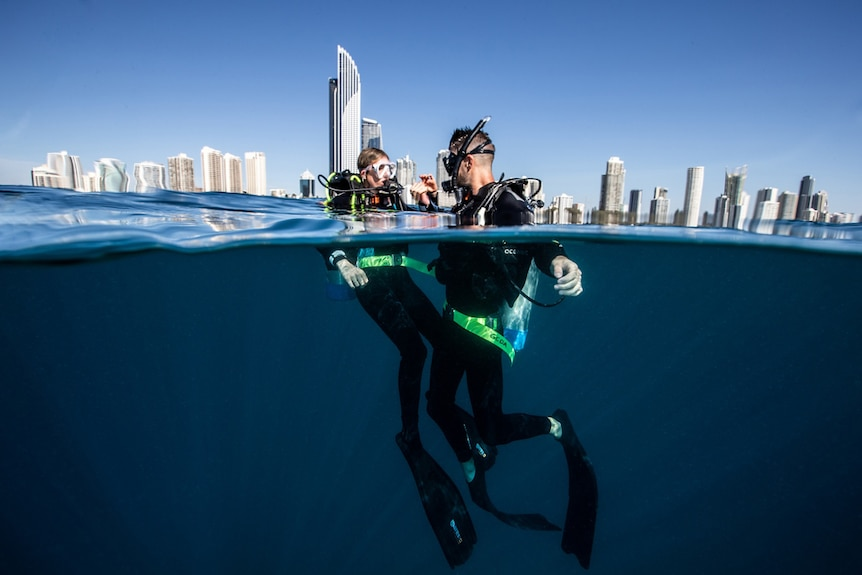 Two divers in the ocean with the Gold Coast skyline in the background.