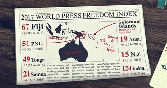 A fake newspaper with the stats on the Pacific's ranking in the 2017 World Press Freedom Index.